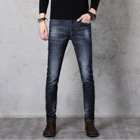 2019 New Casual Slim fit Straight High Stretch Feet Jeans strappati skinny uomo nero blu Fashion Designer Jeans da uomo Buona qualità