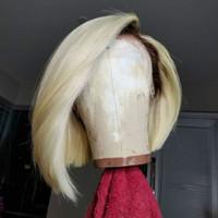 أزياء أومبير العسل شقراء 1B / 613 بوب شعر مستعار كامل الدنتلة غلويليس الدانتيل الجبهة باروكة شعر الإنسان بوب قصيرة شعر مستعار للبيع