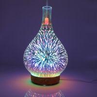 حار 3D الألعاب النارية زجاج زهرية الشكل مرطب الهواء مع LED ضوء الليل العبير الناشر صانع ميست بالموجات فوق الصوتية المرطب