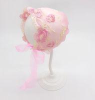 Baby Hats Lace Soft Cap Infantil Recién Nacido Fotografía PROP BONNET Flower Bordado Sombrero Gorante Bonnet Fotos Accesorios