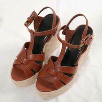 Verano Mujer Sandalias Zapatos Mujer Bombas Plataforma Cuñas Tacón Moda Casual Loop Bling Star Zapatos de mujer suela gruesa con caja