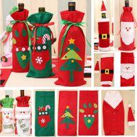 Bottiglia di vino di Natale decorazione Babbo Natale del pupazzo di neve dei cervi bottiglia del sacchetto della copertura della cassa dei vestiti da cucina decorazioni di Capodanno Xmas Dinner Party HH7-1355
