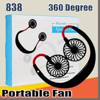 838 Mini Cool Fan tragbare USB aufladbare Fan Neckband Faule Umhang Doppelkühlsysteme Mini-Ventilator für den Alltag mit Kleinkasten