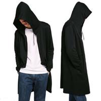 Erkekler Vintage Gotik Stil Hip Hop Coat Kapşonlu Cloak Erkek Moda Tasarımı Uzun Hırka Sokak Punk Ceketler