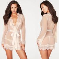 Seksi İç Kadınlar Seksi Bluz Robe + G string pijamalar Dantel İç Seks Babydoll Erotik Şeffaf Elbise