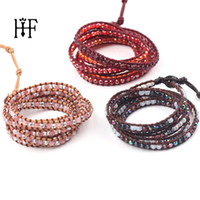 Exquisite Crystal Gold Hematite Beads 5 Layered Leather Wrap...
