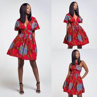 Африканского Ankara печать Мульти Way Wrap платье женщины Бесконечность платье Convertable одно плечо V Cut шеи Одежда Midi платье для леди