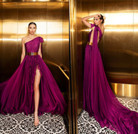 Julie Vino Grape Abendkleider 2020 One Shoulder A Line Sweep Zug Metallgürtel Abendkleider Sexy High Split Long Formal Party Dress