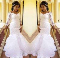 Vintage African Mermaid Wedding Dresses Illusion Long Sleeves Full Lace Appliques Wedding Gowns Vestidos De Novia Bridal Gowns