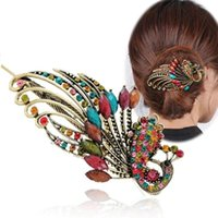 Women Girls Retro Crystal Peacock Hair Clips Bohemia Beauty ...