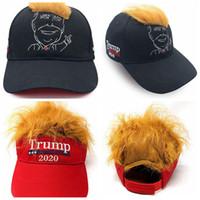 도널드 트럼프 헤어 야구 모자 재미 야외 트럼프 2020 빈 챙 모자 자수 모자 해변 태양 모자 LJJA3558-6