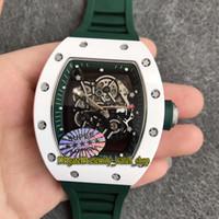 KV Супер версия RM 055 Y-TZP Белый керамический корпус Skeleton Циферблат Япония Miyota NH Автоматическая RM055 Мужские часы каучуковый ремешок Спортивные часы класса люкс