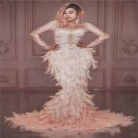 desempenho X89 Partido de dança de salão trajes diamantes bar usa penas rosa saia sereia Rhinestone longo hip partido dj vestido de noite show de