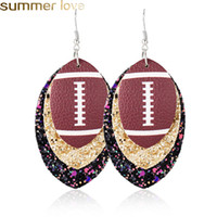 New Faux Leather Earrings for Women Fashion Baseball 3 Layer...