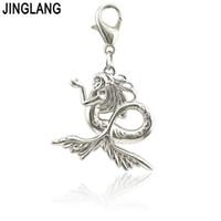 JINGLANG кристалл русалка кулон подвески подходят подходят женщины оригинальный браслет ожерелье ювелирные аксессуары 50 шт.