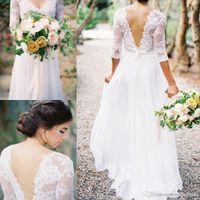 2017 vestidos de novia de chifón de encaje Boho Vestido de encaje con cuello en V 3/4 mangas largas de espalda baja en línea vestidos de novia con pliegues