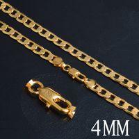 4mm 18 Karat Gold Überzogene Ketten Flache Halsketten für Frauen Mädchen Modeschmuck Zubehör Geschenk mit 18 Karat Stempel 20 Zoll Schmuck
