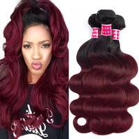 Unprocessed body wave Human Hair Bundles 1b burgundy Peruvia...