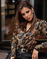 Donne manica lunga con scollo a V e camicette Elegante Stampa Fashion Shirt Signore Ladies Vintage Chemise Femme BlusAS Femininas Elegante