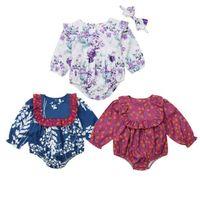 atacado Bebé recém-nascido manga comprida florais Bodysuit Macacão Conjuntos de roupa Suporte