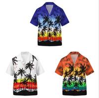 Casual adolescente menino camisas para crianças manga curta giro para baixo colarinho coco impressão praia meninos camisa tops verão crianças roupas 7-14y 13color