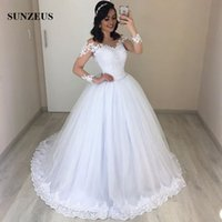 Sheer Long Sleeves Wedding Gowns 2019 New Arrival Ball Gown ...