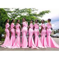 Afrika Pembe Uzun Mermiad Gelinlik Modelleri 2019 Yeni Kapalı Omuz Kat Uzunluk Çiçekler Örgün Gelinlikler Parti Nedime Elbisesi