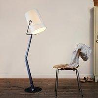 Italienischer Stoff Eisen langes Armbodenlichtmöbel weiße graue stehende leichte dekor beleuchtung fixe fa007