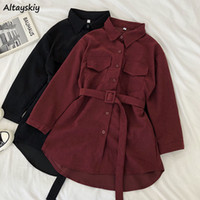 Corduroy Long Sleeve Dress Women Solid Buttons Pockets Turn-...