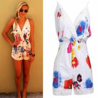 Sommer-Frauen Sleeveless Riemen-Playsuit Blumendruck-Spitze mit hohen Taille Backless beiläufige dünnen Mehrfarben Short Body