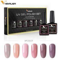 Venalisa 6 Renk 7.5 ml Nail Art Tasarım kapalı Islatın UV Kamuflaj Renk Kauçuk Taban Kat Oje Jel Cila Vernikler Jel Kitleri