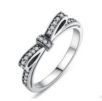 Frauen 925 Silber Zirkonia Gepflasterte Luxus-Diamant-Ring elegante bowknot Braut Hochzeit Verlobung Jubiläen Geschenke