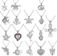Moda Gümüş Inci Kafes Kolye Madalyon Kolye Ile Köpekbalığı Mermaid Deniz Atı Gül Inciler Oyster Kolye Charm Kadınlar Için Güzel Takı