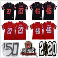 NCAA Ohio State Buckeyes College 27 Eddie George Football Jerseys Vintage Legends University 스티치 45 Archie Griffin 150th Jersey