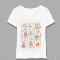 Russian Dolls And Flower Folk Painting White T- Shirt Summer ...