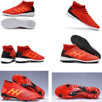 2019 New Mens High Ankle scarpe da calcio Predator 19+ FG Scarpe da calcio Predator 19 Outdoor Soccer Cleats FG bambini chaussures de football