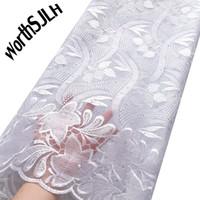 Wortsjlh 2019 Popularne białe afrykańskie koronkowe tkaniny wysokiej jakości Nigeryjczyk francuski tiul koronki tkaniny haftowane koronki netto tkaniny z koralikami