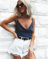 Сплошной цвет Camis верхней части бака Лето Регулируемый Спагетти ремень Топы Топ декольте Мода лето одежда женщин будет и песчаное подарок