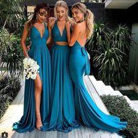 Abiti da damigella d'onore laterale blu turchese Abiti da damigella d'onore lunghi Sexy Sexy Backless Wedding Party Dress 2019 V-Neck Bride Maid of Honor Agawhi