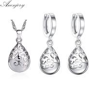 Venta caliente 925 sistemas de joyería de plata esterlina Moonstone Opal Tears Conjuntos Totem pendientes del collar para las mujeres