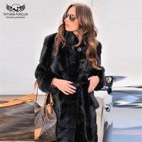 Tatyana Furclub Yeni Kadife Paltolar femal Kadın Uzun Gerçek Kürk Palto Moda Kış Artı boyutu İnce Kürk Mantolu için