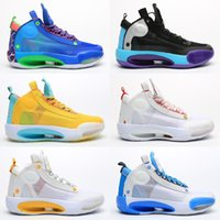 2020 وصول جديد Jumpman 34 الأزرق O سنو ليوبارد 34 أحذية كرة السلة للرجال الرابع والثلاثون الأزرق الفراغ ولدت 34 الكسوف المدربين ريترو الرياضية حذاء رياضة