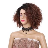 Afro rizado rizado corto para no encaje pelucas sintéticas para mujeres Negro Ombre color natural del pelo afro envío