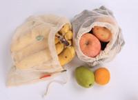 Coton réutilisable maille d'épicerie produits alimentaires sacs sacs de légumes de fruits respectueux de l'environnement sacs à main sac de rangement à la maison sac ST616