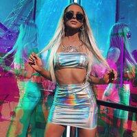 Frauen Laser Reflective Sexy Sling kurzer Rock-Bikini Anzug Zweiteiler Glitter Jumpsuits Holographic Outfits Crop Top Short Bodycon Sets