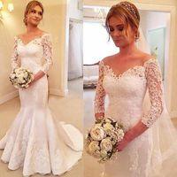 2019 élégante dentelle sirène robe de mariée robes de cou de colle pure robe de mariée avec bouton arrière vestidos de noiva plus taille