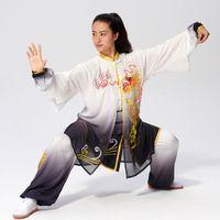 중국어 태극권 여성 남성 소녀 소년 어린이 성인 아이들을위한 기모노 쿵후 유니폼 태극권 경쟁 의류 자수 기공 옷