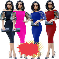 Frauen bleistift dress off schulter halbe laterne hülse knielangen bodycon party dress