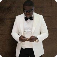 Özel Yapılmış Beyaz Erkek Düğün Takım Elbise Slim Fit Damat Smokin Fildişi Doruğa Yaka Yakışıklı Best Man Blazers Ceket 3 Adet Kruvaze Yelek