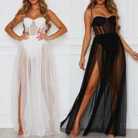 Sommer 2ST Kleid-Frauen reizvolle Perspektive Ineinander greifen-Gaze Sleeveless Backless Partei-Kleid-Schwarz-weiße lange Maxi Kleider Sundress
